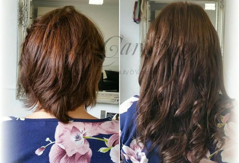 Vorher Nacher Bild einer Haarverlängerung